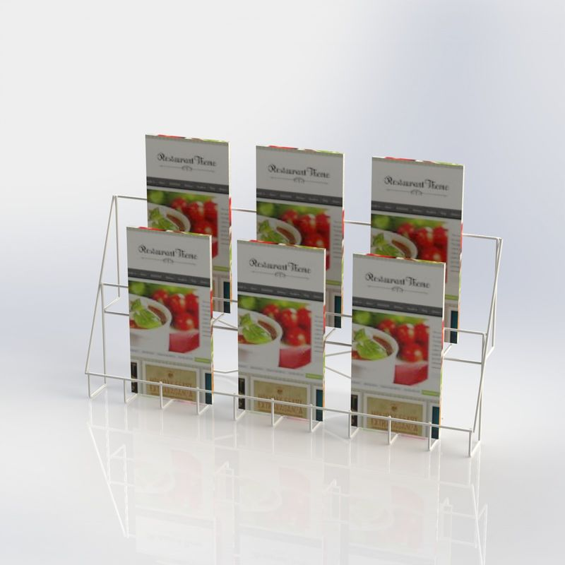 Metal Counter Top Literature Display Rack Folded Wire Holder For Brochures