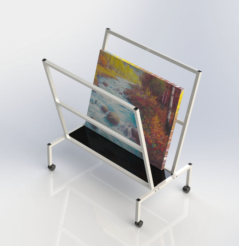 V - Shape Metal Oil Painting Frame Office Display Shelves Arts Bin Storage Stand