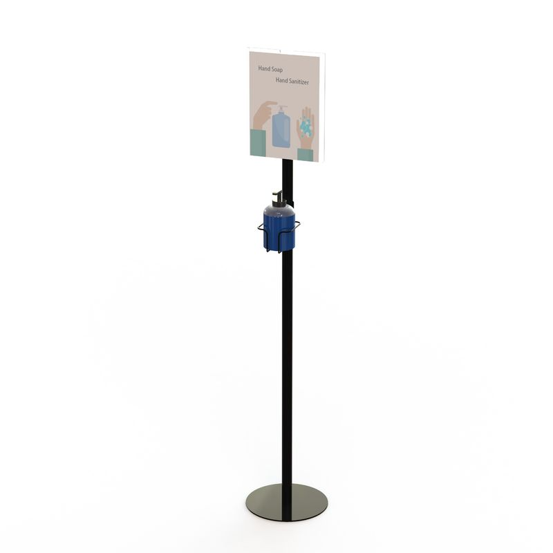 Soap Hand Sanitizer Dispenser 120cm Metal Floor Stand With Sign Holder