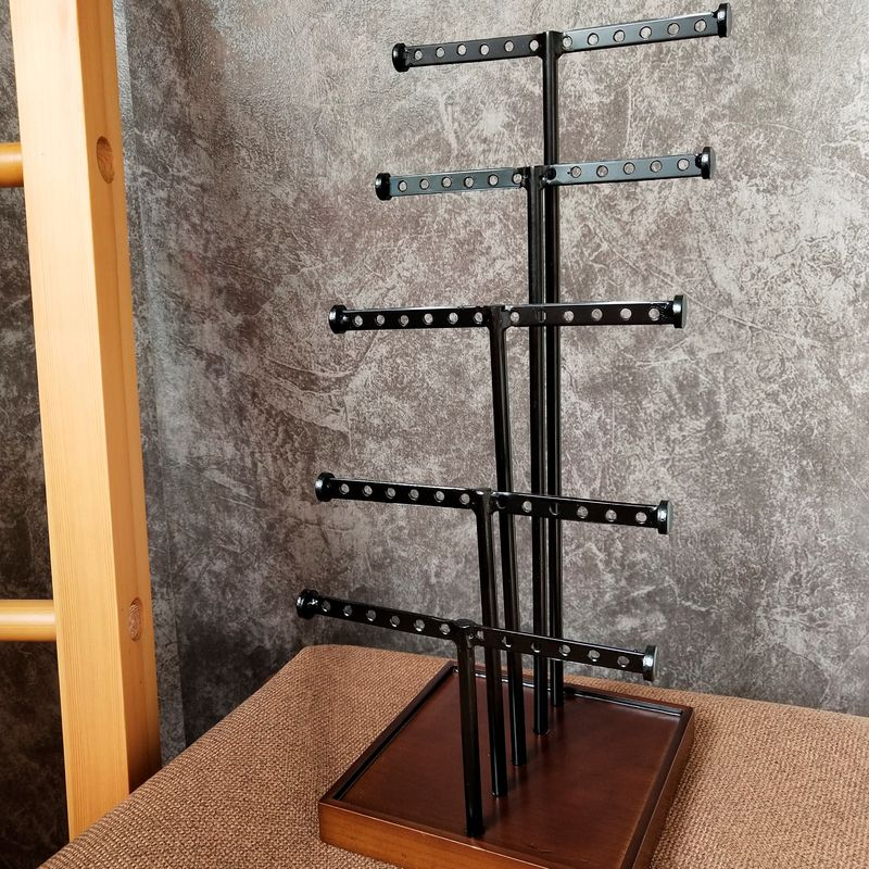 5 Rods Earring Metal Table Top Display Stands With Wooden Base For Grocery