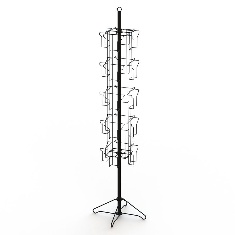 Wire Base Spinner Pockets Rotatable Metal Book Display Stand